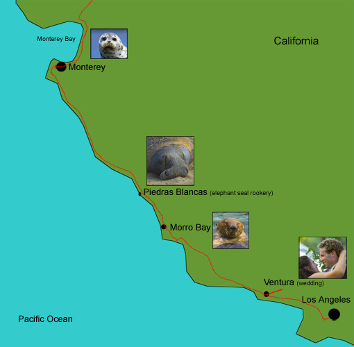 map of my journey in southern California