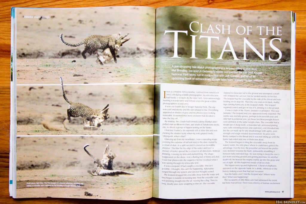 """Clash of the Titans"" (pages 1-2) article and photos by Hal Brindley in Getaway Magazine July 2011"