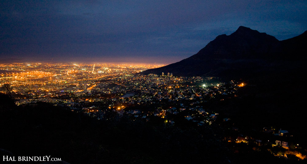 Cape Town at night, as seen from the Lion's Head.